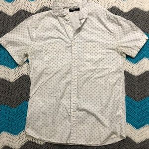 EXPRESS Men's White Patterned Button Down Shirt